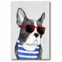 Courtside Market 12-Inch x 18-Inch Frenchie Summer Style Canvas Wall Art