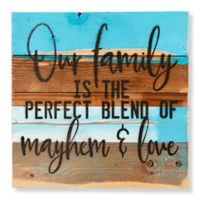 "Sweet Bird & Co. ""Mayhem and Love"" 12-Inch Square Wood Wall Art"