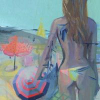 "Parvez Taj ""Yellow String Bikini"" 48-Inch x 48-Inch Canvas Print Wall Art"