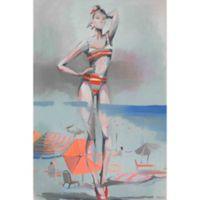 """Parvez Taj """"Orange Striped Bikini"""" 30-Inch x 45-Inch Canvas Print Wall Art"""
