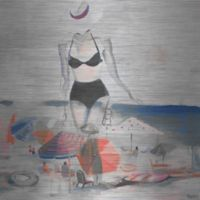 """Parvez Taj """"Black Bikini"""" 24-Inch x 24-Inch Aluminum Print Wall Art"""