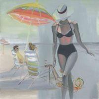 """Parvez Taj """"Black Bikini Stroll"""" 24-Inch x 24-Inch Canvas Print Wall Art"""