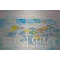 "Parvez Taj ""Beach Shack Umbrellas"" 18-Inch x 12-Inch Aluminum Print Wall Art"