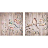 Birds on Plank Wood Wall Art
