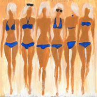 Marmont Hill Collective Tiny Blue Bikinis 32-Inch Square Canvas Wall Art