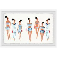 Marmont Hill Collective 12-Inch x 18-Inch Blue and White Stripes Framed Wall Art
