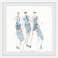 Marmont Hill Blue Taffeta 12-Inch Square Framed Wall Art
