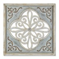 Distressed Wood and Iron Wall Decor in Grey/Blue