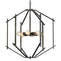 Rogue Decor Company Offset 6-Light Ceiling-Mount Pendant in Forged Iron