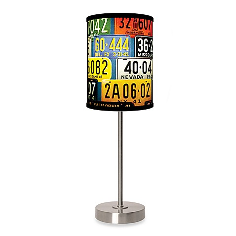image of License Plates Table Lamp with Brushed Nickel Base