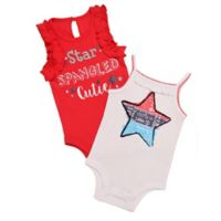 Baby Starters® Size 3M 2-Pack Star Spangled Bodysuits in Red/White/Blue