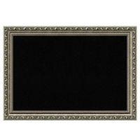 Amanti Art Small Cork Board with Parisian Silver Frame in Black