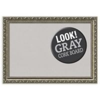 Amanti Art Parisian Small Cork Board with Silver Frame in Grey