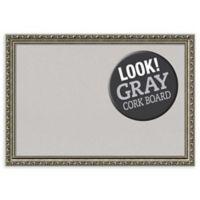 Amanti Art Parisian Medium Cork Board with Silver Frame in Grey