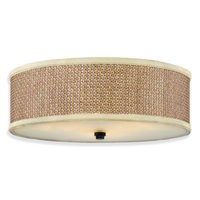 Buy Zen Semi Flush 3 Light Ceiling Light In Tan Rattan And
