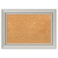 Amanti Art Small Cork Board with Romano Silver Frame