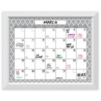 Amanti Art Glass Dry Erase Calendar with Angled Frame in White/Grey