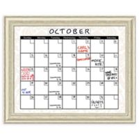 Amanti Art Glass Beige Damask Dry Erase Calendar with Country White Frame