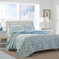 Laura Ashley® Cockatoo Bay Reversible Full/Queen Quilt Set in Aqua
