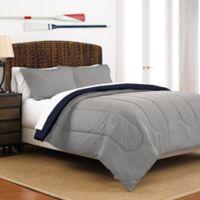 Martex Two-Tone Reversible Twin Comforter Set in Grey/Navy