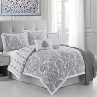 Ellen Tracy Adalisa 6-Piece Reversible Queen Comforter Set in Platinum/White