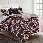 Ellen Tracy Fleur Du Joir 6-Piece Reversible King Comforter Set in Pink/Charcoal