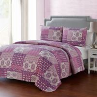 VCNY Home Nadia King Quilt Set in Purple
