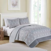 VCNY Home Kagney Reversible Queen Quilt Set in Ice Blue