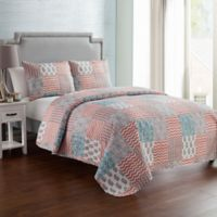 VCNY Home Anna Patchwork 3-Piece Reversible Full/Queen Quilt Set in Peach