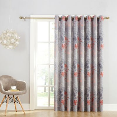 Sun Zero Allena Rod Pocket Room Darkening Sliding Door Curtain Panel In Grey