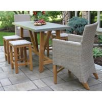 Outdoor Interiors® 7-Piece Teak Composite Counter Height Patio Dining Set in Grey