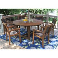 Outdoor Interiors® 7-Piece Eucalyptus Lazy Susan Patio Dining Set in Dark Brown