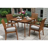 Outdoor Interiors® 5-Piece Deluxe Eucalyptus Patio Dining Set in Brown