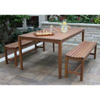 Outdoor Interiors® 3-Piece Eucalyptus Bench Patio Dining Set in Brown Umber