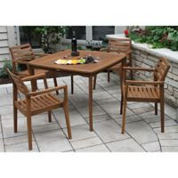Outdoor Interiors® 5-Piece Eucalyptus Stacking Patio Dining Set in Brown Umber