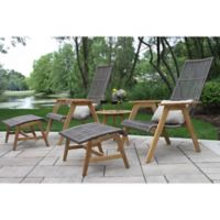 Outdoor Interiors® 5-Piece Teak & Wicker Basket Patio Conversation Set