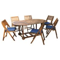 Outdoor Interiors® 7-Piece Eucalyptus Wood Folding Patio Set with Navy Cushions