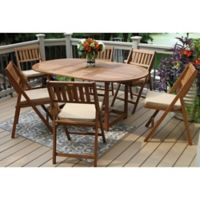 Outdoor Interiors® 7-Piece Eucalyptus Wood Folding Patio Set with Beige Cushions
