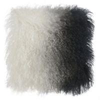 Tov Furniture Tibetan Sheepskin Square Throw Pillow in White/Black