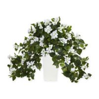Nearly Natural 23-Inch Bougainvillea Plant in White with White Tower Vase