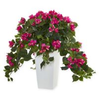 Nearly Natural 23-Inch Bougainvillea Plant in Burgundy with White Tower Vase