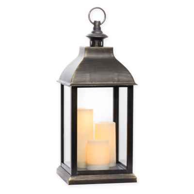 Jumbo Triple-Light LED Lantern in Antique Gold