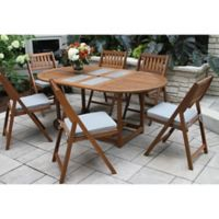 Outdoor Interiors® 7-Piece Eucalyptus Wood Folding Dining Set
