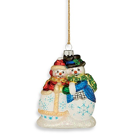 Waterford marquis snowman couple ornament bed bath beyond for Christmas ornament sale clearance