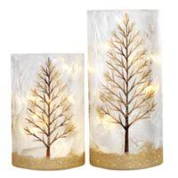 Heritage Home Glitter Tree 2-Piece LED Lighted Glass Hurricane Set