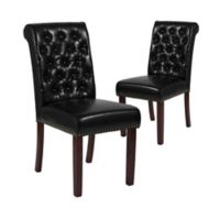 Flash Furniture Faux Leather Upholstered Dining Chairs in Black (Set of 2)