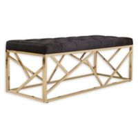 Safavieh Farah Velvet Upholstered Bench in Black/Brass