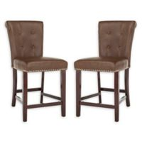 Safavieh Faux Leather Upholstered Barstools in Brown (Set of 2)