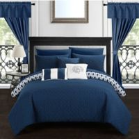 Chic Home Ami 20-Piece Reversible King Comforter Set in Navy