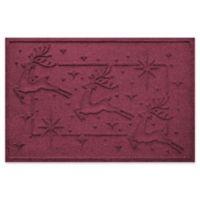 """Weather Guard™ Reindeer Row 23"""" x 35"""" Door Mat in Bordeaux"""